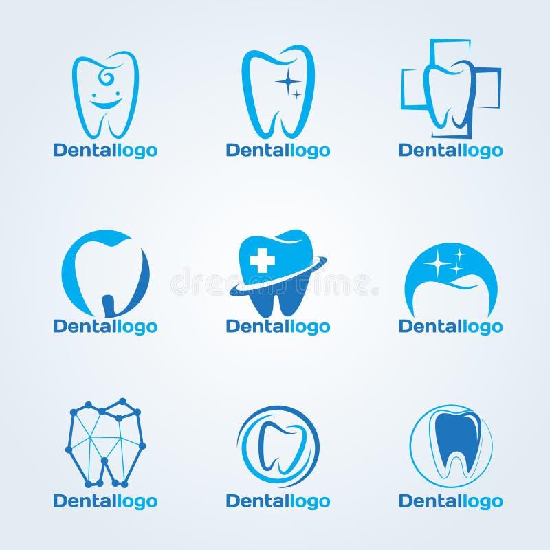 Scénographie dentaire de vecteur de logo de clinique et de service illustration de vecteur
