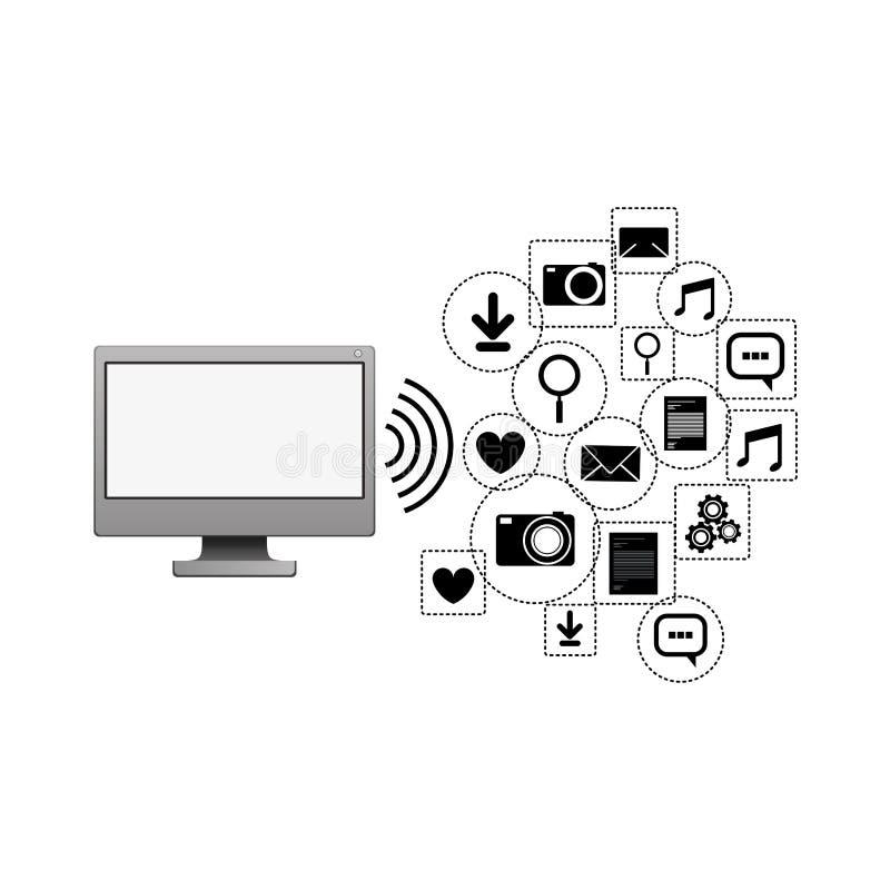 Scénographie sociale d'icône de media et de multimédia d'ordinateur illustration libre de droits