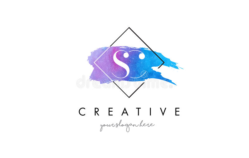 SC Artistic Watercolor Letter Brush Logo. royalty free illustration