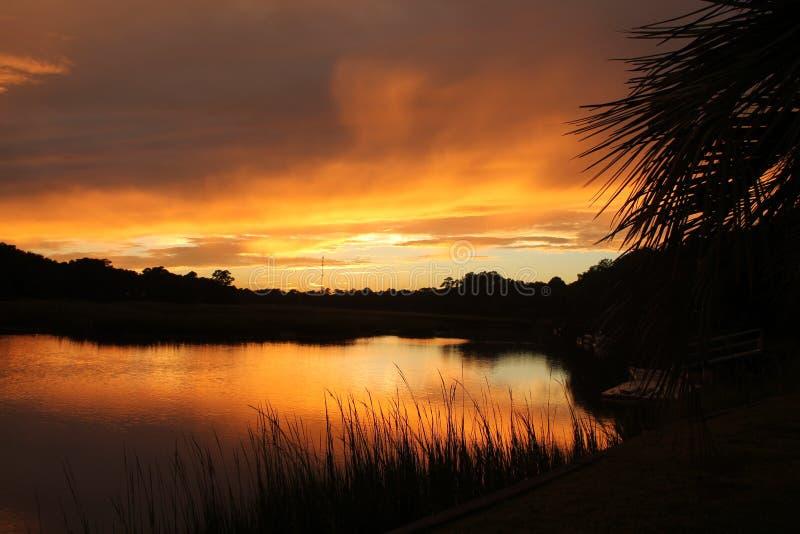 Sc d'île de Johns de coucher du soleil image stock