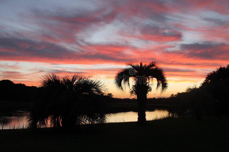 Sc d'île de Johns de coucher du soleil photographie stock libre de droits