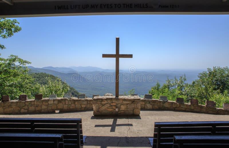 SC exterior transversal de Mountain View Greenville County da capela fotos de stock