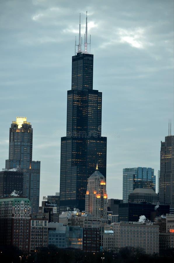 Sc f?r Chicago i stadens centrum finansmitt royaltyfri fotografi