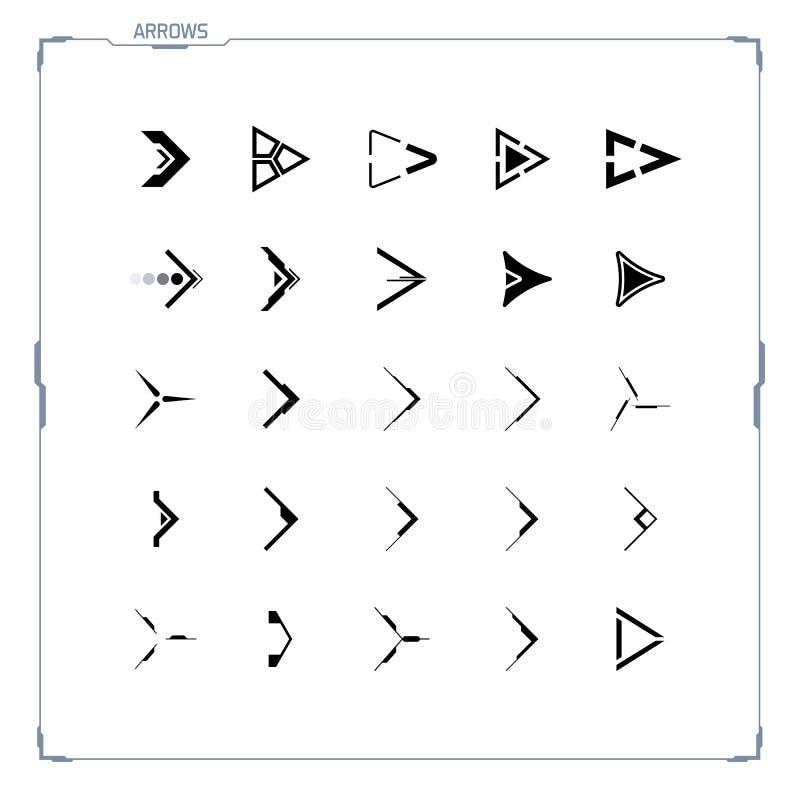 sc.i-FI de Futuristische geplaatste pictogrammen van de ontwerppijl vector illustratie