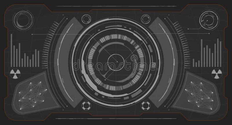 sc.i-FI Futuristisch Gloeiend HUD Display Het de Technologiescherm van de Vitrualwerkelijkheid stock afbeeldingen