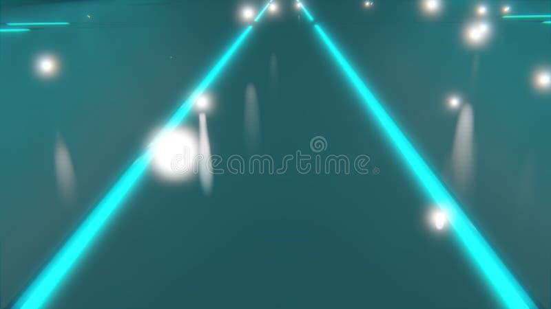 sc.i-FI geven de neon blauwe gloeiende lijnen op vloer die aan een 3d punt samenkomen terug stock illustratie