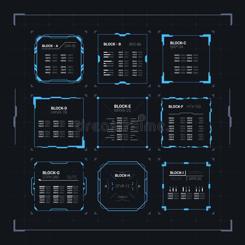 sc.i-FI HUD Ui Square Frames royalty-vrije illustratie