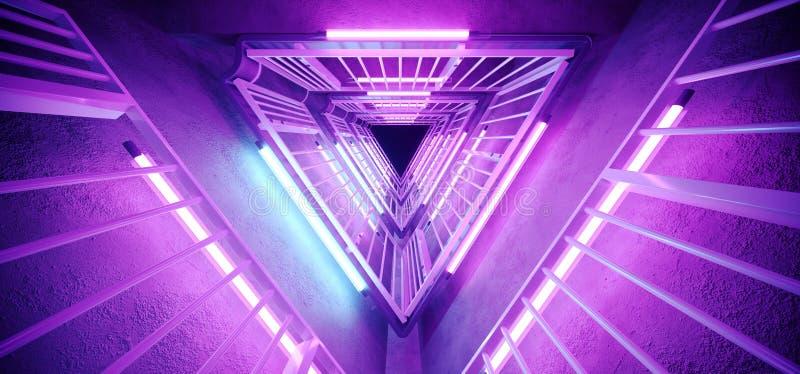 Sc.i-het Metaalbouw van Technologie van FI Vreemde hallo Trillende Realistische Driehoek Gestalte gegeven met Neon het Gloeien Ul vector illustratie