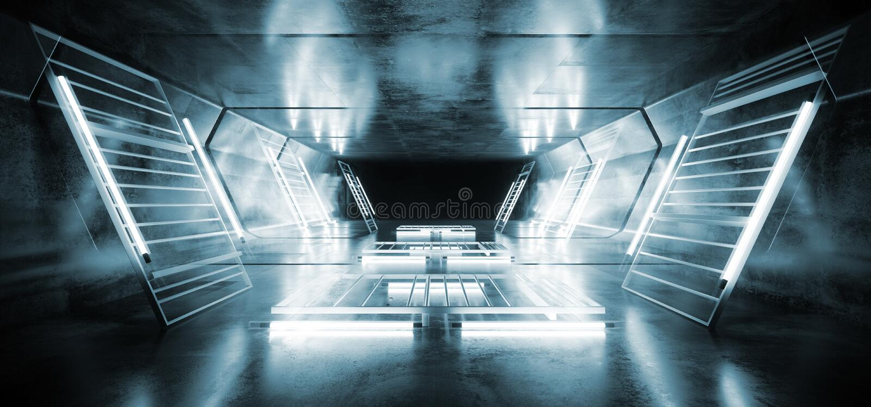 Sc.i-van het de Bouwmetaal van FI de Futuristische Gloeiende Weerspiegelende Grunge Concrete Tunnel van Mesh Spaceship Virtual Wh royalty-vrije illustratie