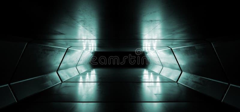 Sc.i-van het Ruimteschip Virtuele Witte Blauwe Cinematic van FI Futuristische het Gloeien Weerspiegelende Grunge Concrete Elegant vector illustratie