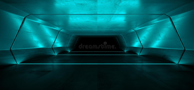 Sc.i-van het Ruimteschip Virtuele Witte Blauwe Cinematic van FI Futuristische het Gloeien Weerspiegelende Grunge Concrete Elegant stock illustratie