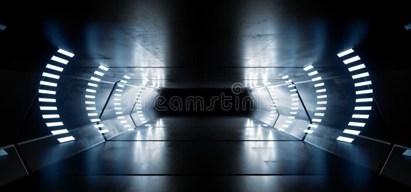 Sc.i-van het Ruimteschip Virtuele Witte Blauwe Cinematic van FI Futuristische het Gloeien Weerspiegelende Grunge Concrete Elegant royalty-vrije illustratie
