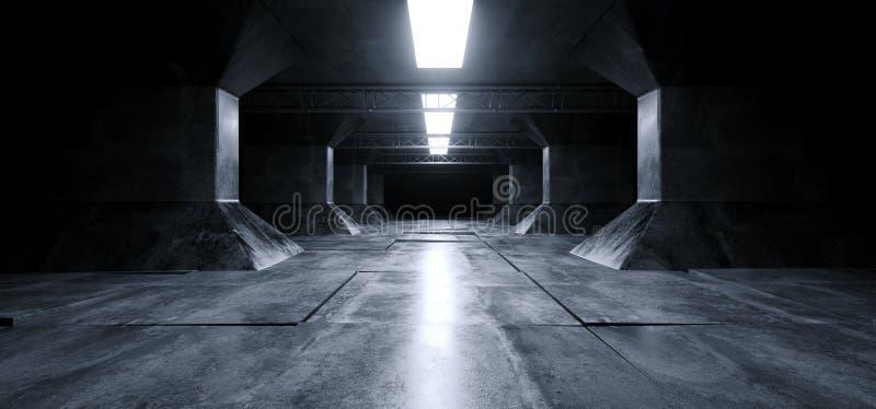 Sc.i-van het Schipgrunge van FI de Futuristische Vreemde van de de Kolommengang Concrete Weerspiegelende van het het Ruimteschip  royalty-vrije illustratie