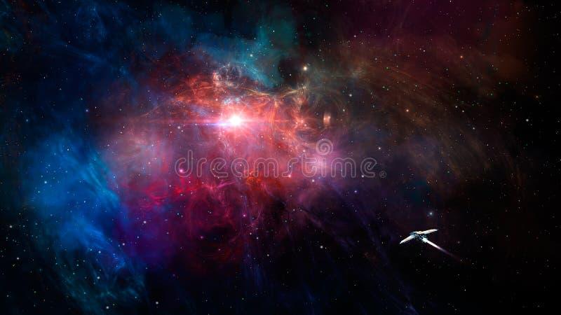 Sc?ne de l'espace Mouche de vaisseau spatial en nébuleuse colorée de fractale ?l?ments meubl?s par la NASA rendu 3d illustration libre de droits