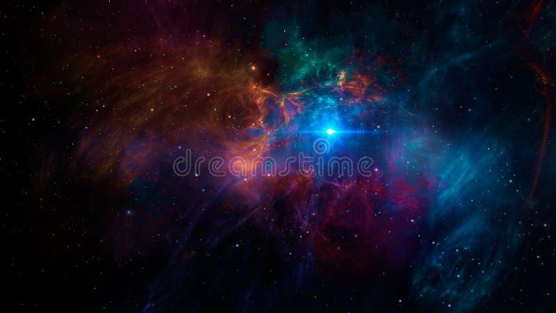 Sc?ne de l'espace Nébuleuse colorée de fractale avec les étoiles et la lumière bleue ?l?ments meubl?s par la NASA rendu 3d illustration stock