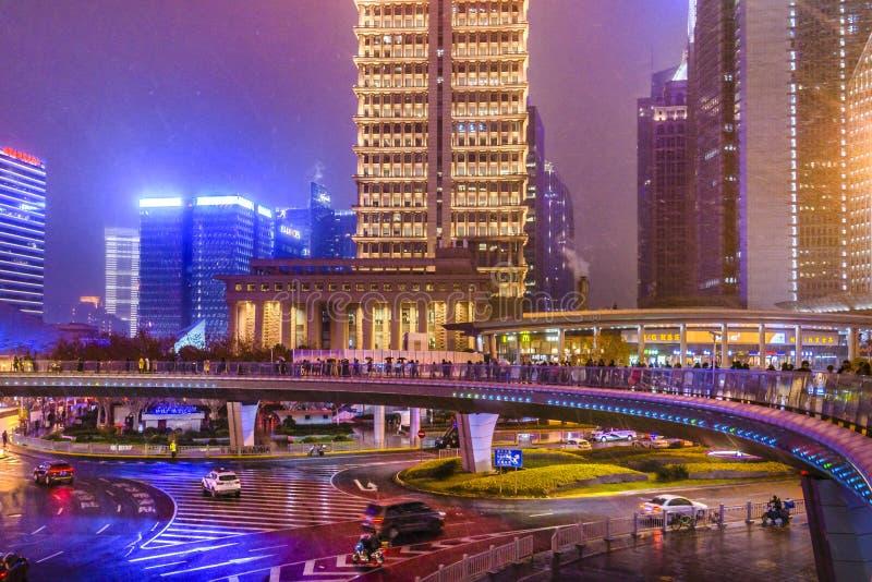 Sc?ne de Nigth de secteur de Lujiazui, Changha?, Chine photo stock