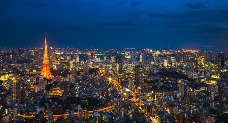 Sc?ne de nuit de Tokyo, vue panoramique images stock