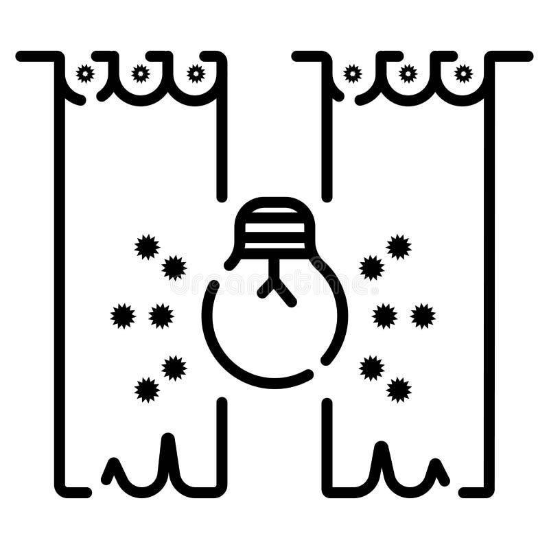 Sc?ne en van het gordijnenpictogram vector royalty-vrije illustratie