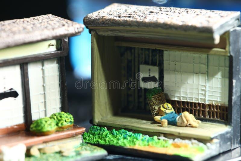Sc?ne mod?le d'agriculteur japonais miniature photographie stock libre de droits