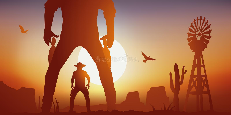 Sc?ne occidentale avec deux hommes occidentaux sauvages se faisant face pour combattre dans un duel illustration stock