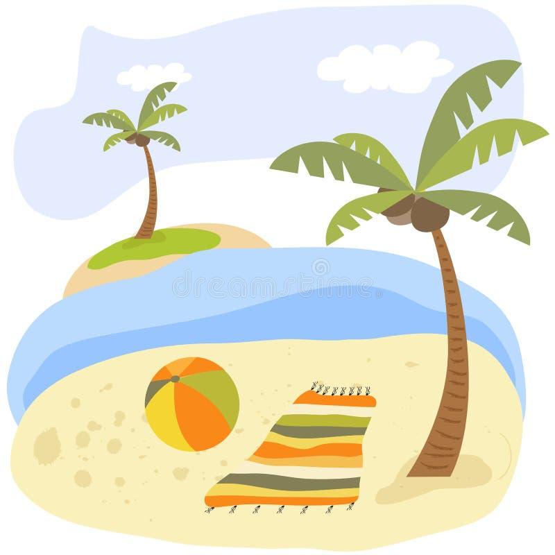 Sc?ne tropicale de plage Affiche de vacances d'?t? photos stock