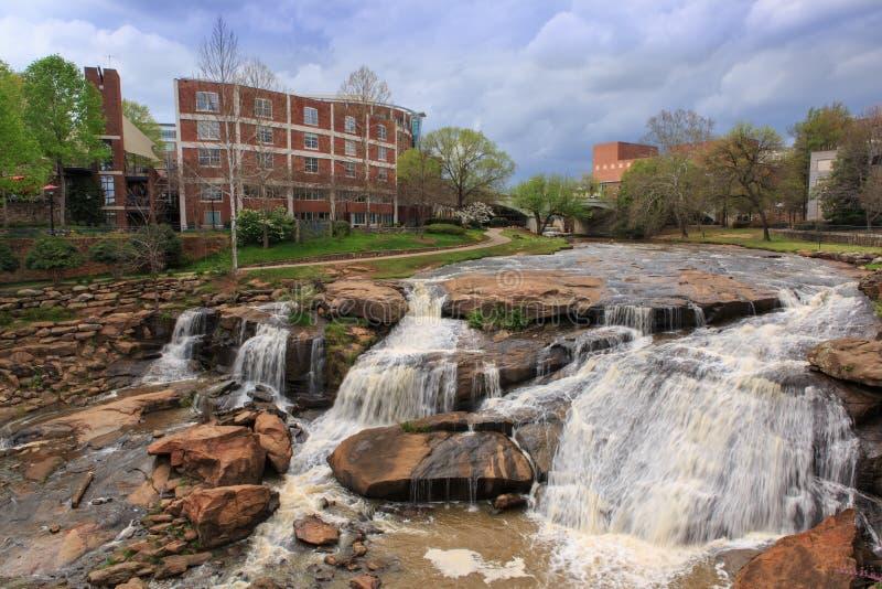SC Reedy River Waterfalls Spring de Greenville imagens de stock royalty free