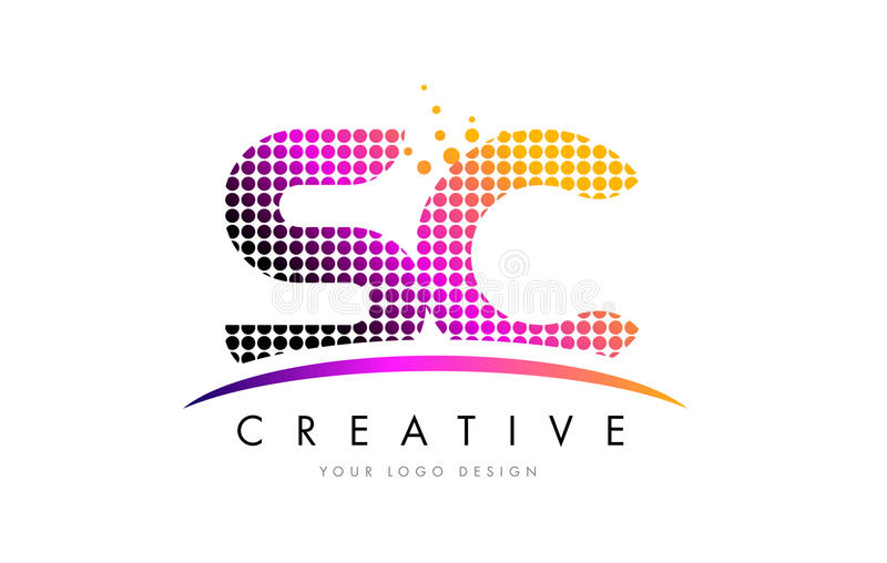 SC S C Letter Logo Design with Magenta Dots and Swoosh. SC S C Dots Letter Logo Design with Magenta Bubble Circles and Swoosh vector illustration