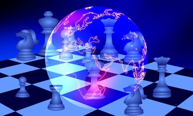 Scacchi di strategia di commercio di affari di mondo illustrazione vettoriale