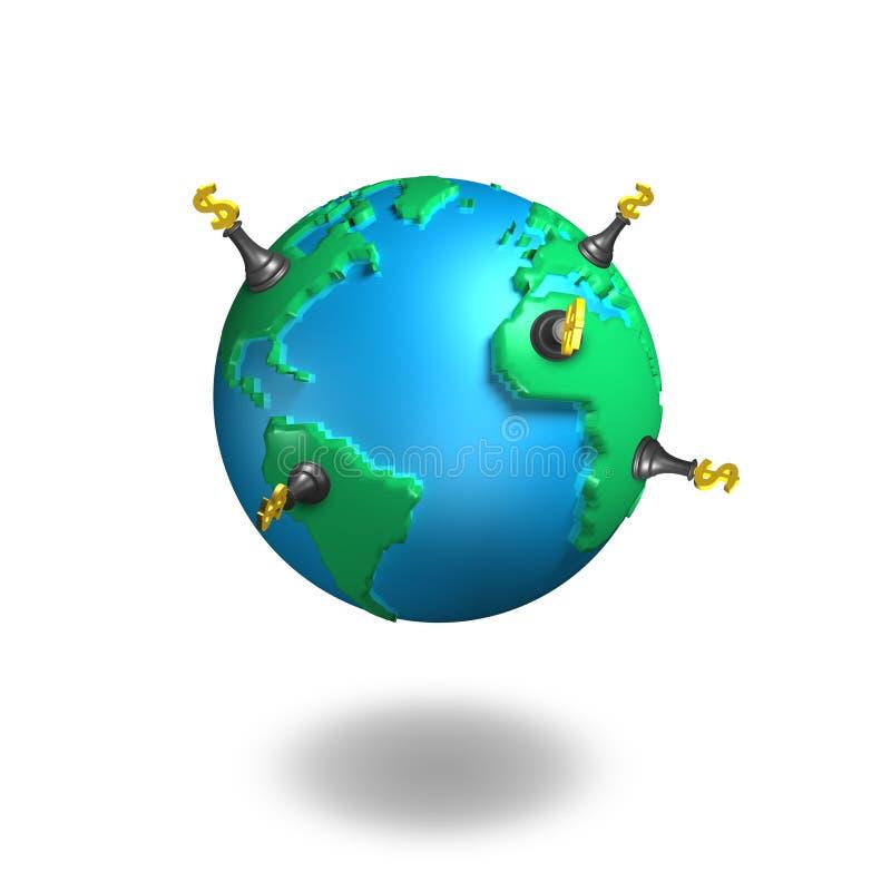 Scacchi e globo dei soldi royalty illustrazione gratis