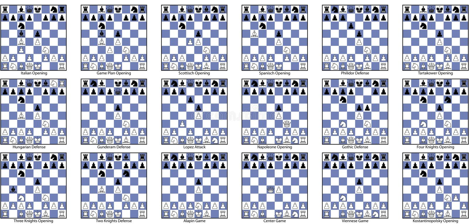Collection of open game chess openings stock photography