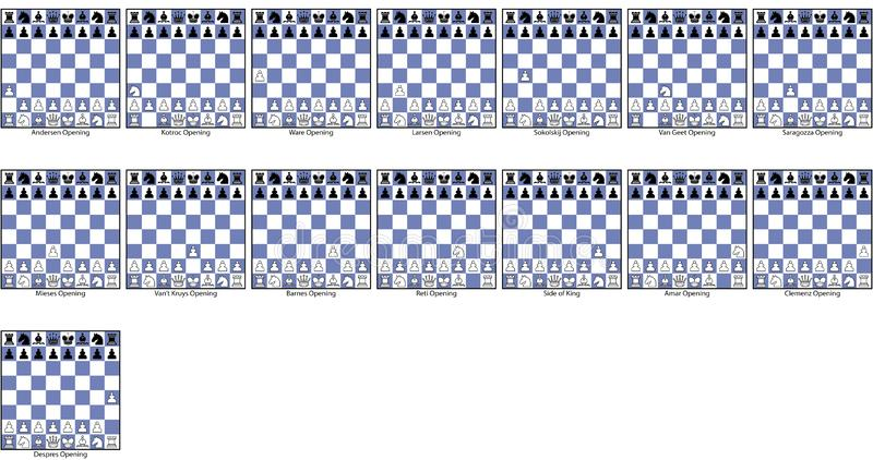 Collection games irregular chess openings royalty free stock photo