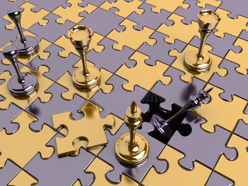 Scacchi su una scheda di puzzle con una parte mancante illustrazione di stock