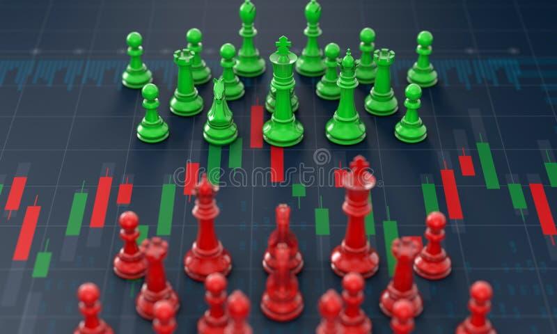 Scacchi sul grafico del bastone della candela, progettare compra-vendita sul mercato azionario royalty illustrazione gratis