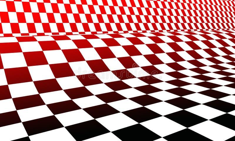 Scacchiera bianca e nera rossa illustrazione vettoriale