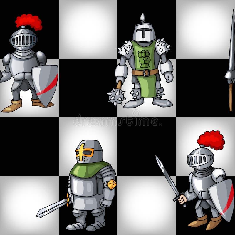 Scacchiera con il fondo senza cuciture del modello dei cavalieri medievali del fumetto illustrazione vettoriale