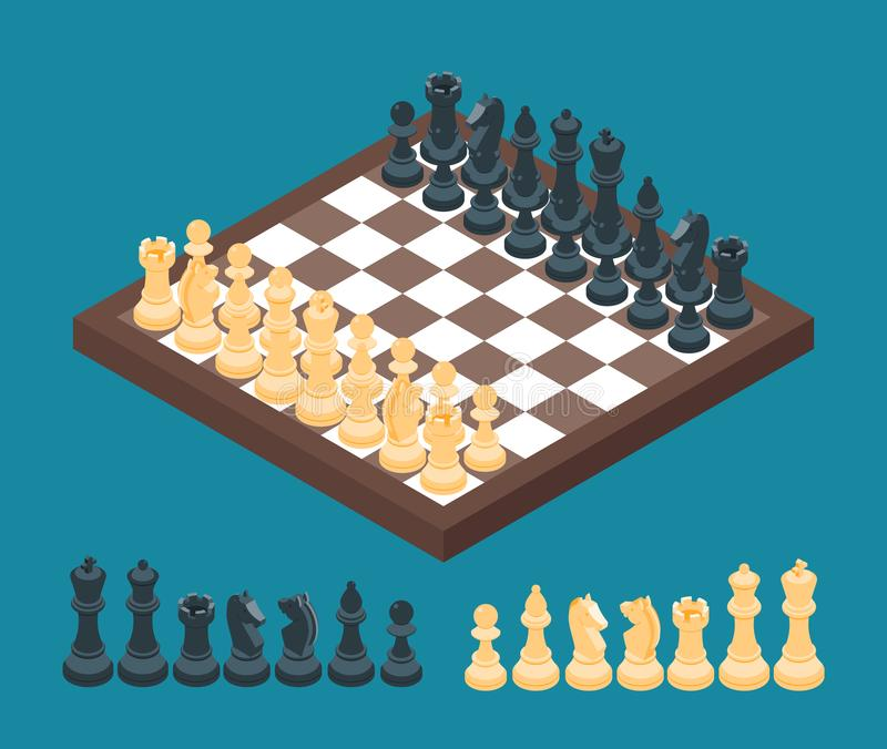 Scacchiera con le figure di scacchi illustrazione vettoriale
