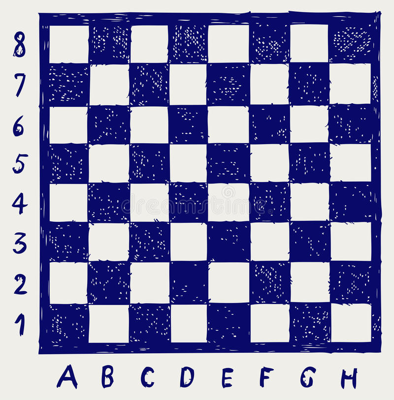 Scacchiera con le lettere ed i numeri illustrazione vettoriale