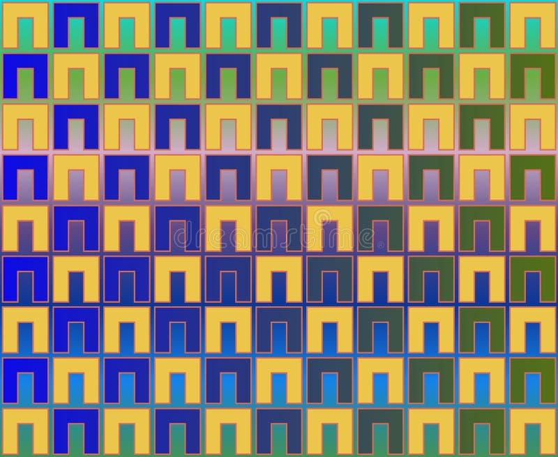 Scacchiera di arte op di colore giallo di verde blu di NS illustrazione vettoriale
