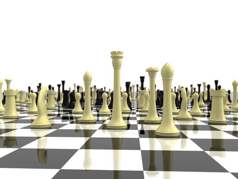 Scacchiera infinita con vario pezzo degli scacchi illustrazione di stock