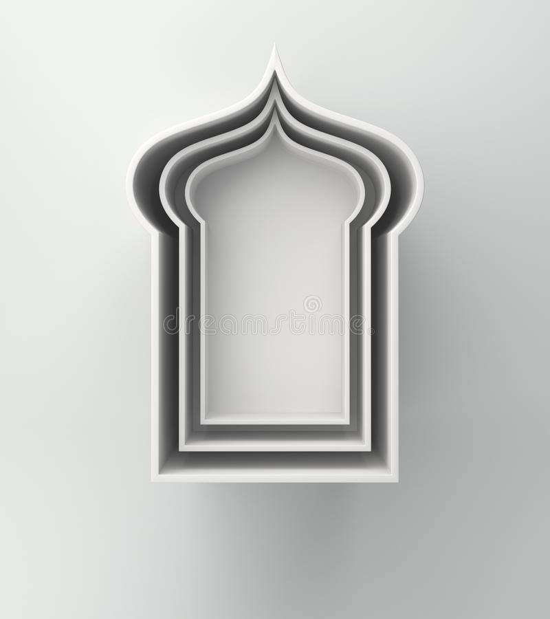 Scaffale arabo della finestra su fondo bianco Concetto creativo di progettazione del kareem del Ramadan di giorno di celebrazione royalty illustrazione gratis