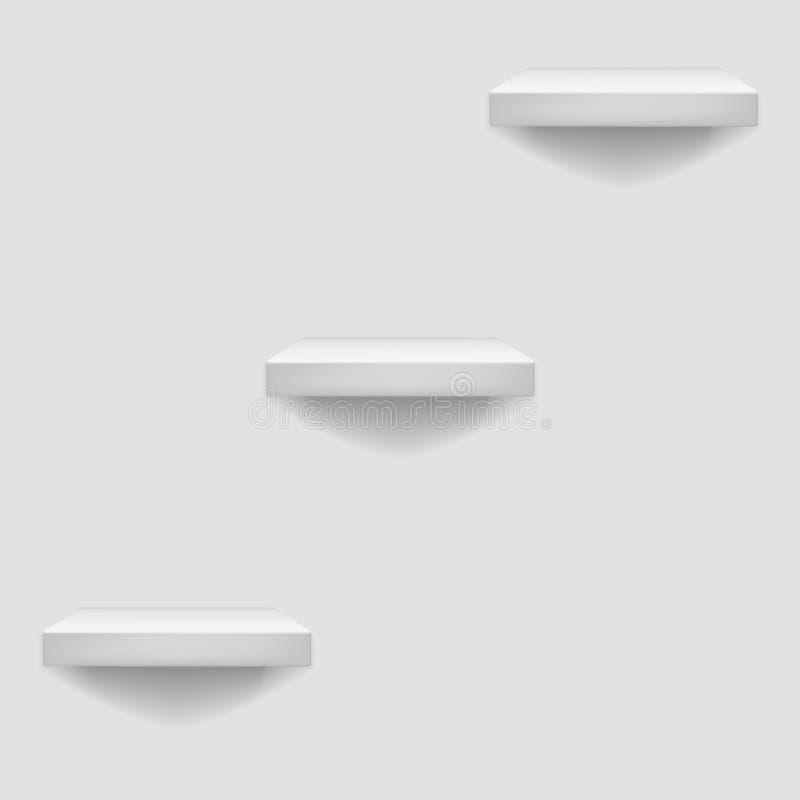 Scaffale bianco che appende su un'illustrazione di vettore del fondo del modello della parete illustrazione di stock