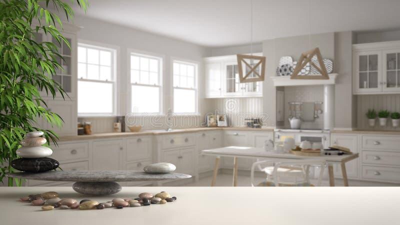 Scaffale bianco della tavola con l'equilibrio del ciottolo e pianta di bambù sopra la cucina classica scandinava d'annata con il  illustrazione vettoriale