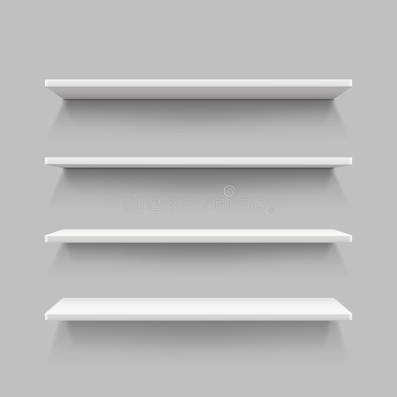 Scaffale bianco vuoto del negozio, scaffali al minuto, illustrazione di vettore dell'esposizione di parete del deposito 3d illustrazione vettoriale