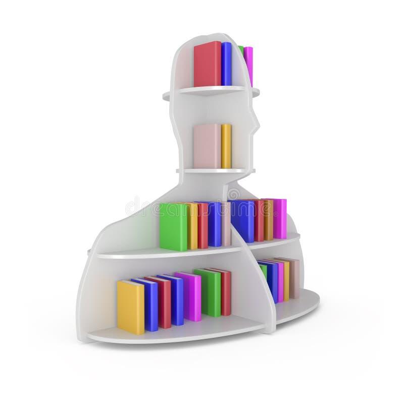 Scaffale capo con i libri isolati su bianco illustrazione vettoriale