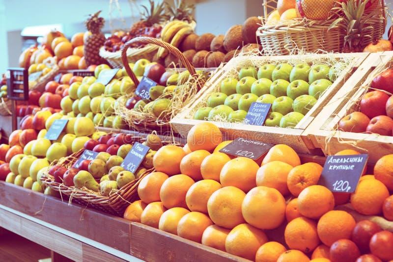 Scaffale con i frutti, tonificati immagine stock libera da diritti