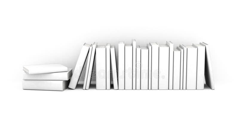 Scaffale con i libri bianchi fotografie stock