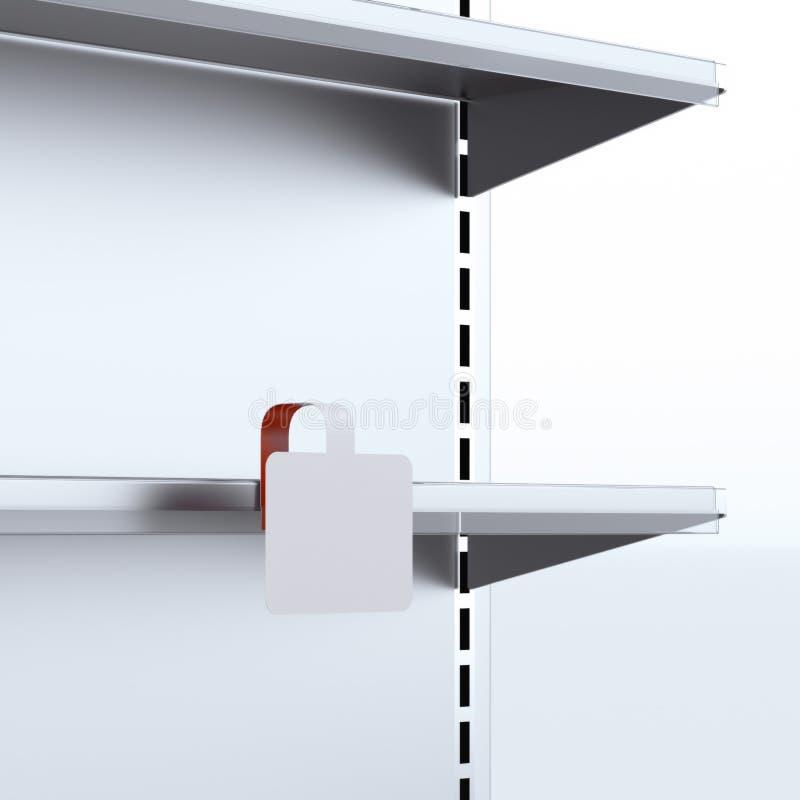 Scaffale con il wobbler in bianco illustrazione vettoriale