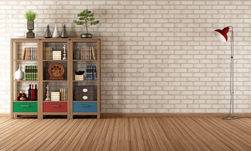 Scaffale d'annata in una stanza vuota illustrazione vettoriale