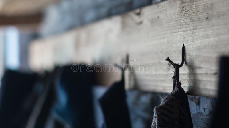 Scaffale del gancio della parete del chiodo della casa del ` s dell'agricoltore vecchio, gancio di cappotto immagini stock libere da diritti