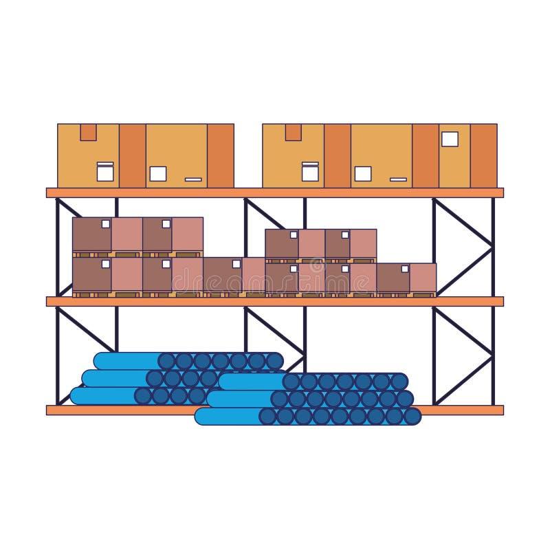 Scaffale del magazzino con i tubi del PVC delle scatole e le linee blu delle mercanzie illustrazione di stock